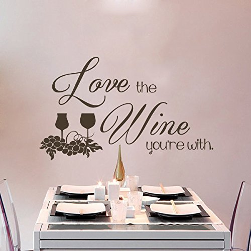 Removable Wall Decal Sticker Wine Glass Mural Wallpaper Grape Wall Decor Vinyl Sticker Quotes Love the Wine You¡¯re With£¨Medium,White£