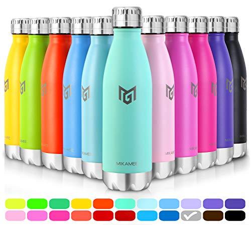 MIKAMEE Trinkflasche Edelstahl airBottle | 350,500,650,750ml Isolierflasche | Doppelwandig Vakuum Wasserflasche | Auslaufsicher Thermosflasche | BPA FREI Thermoskanne | Kohlensäure geeignet für Sport