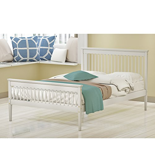 Storeinuk 4FT6 Double Bed Frame Pure Solid Wood Frame Bed Base Bedroom Furniture For Adults, Kids, Teenagers