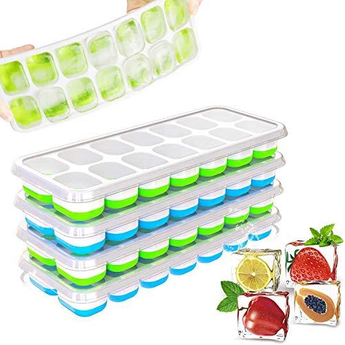 Cubitera de silicona con tapa, 4 unidades, certificado LFGB, libre de BPA, para whisky, cócteles, comida para bebés, ahorra espacio, recipiente cuadrado para cubitos de hielo, verde/azul
