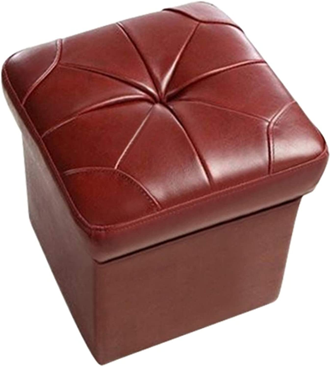 AGLZWY Sofa Stool Multipurpose Solid Wood Frame Genuine Leather Breathable Wear Resistant Fashion Living Room Square Stool Footstool, 6 colors, 40X40cm (color   A, Size   40X40cm)