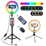 10' RGB Ring Light, Misiki Selfie Ring Light with Tripod Stands & Phone/Tablet Holders, 20 Colors LED Light, 10 Brightness Levels, 2 Wireless Remote for YouTube/Live Stream/Photography