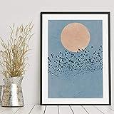 Luna Silhouette Uccelli Blu Paesaggio Arte della Parete Pittura su Tela Poster e Stampe nordici Immagini a Parete Decorazioni per Soggiorno 60x90 cm Senza Cornice