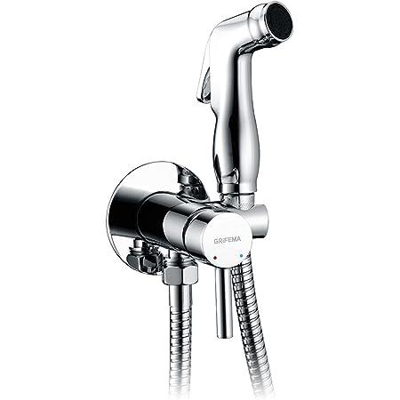 GRIFEMA Irismart - Monomando empotrar para bidé WC, agua caliente y fria, con ducha mano, soporte y manguera, Flexo 1.2 m, Cromo [Exclusivo en Amazon]
