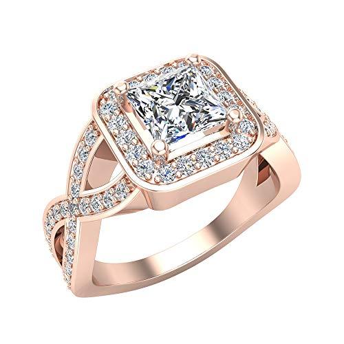 Anillo de compromiso de oro rosa de 14 quilates con halo cuadrado de diamante