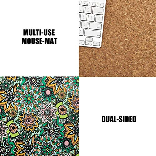 Mouse Pads 2 Pack - PU Leather & Cork Mouse pad, Floral & Black Mouse Pad Mat, Natural Cork Base, Stitched Edge, Writing Mousepad for Laptop, Computer, Office & Home Photo #3