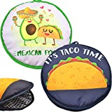 Microwaveable X-Large Tortilla Warmer Pouch 2 Pack - 2 Fun Designs 'Taco Time' & 'Mexican Food' to make taco night special. 12 Inch in Diameter Microwave Corn or Flour Tortillas, Pizza, Naan Bread