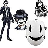 Máscara de invasión de talle alto Tenku Shinpan blanco sonrisa máscara Halloween Cosplay máscara terrorista partido populares accesorios cosplay máscara personaje baile partido
