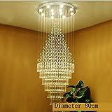 Kristall-Kronleuchter Moderne Kristall-Ceilling helle Qualitäts-Lampen für Wohnzimmer Hotel Corridor Aisle Halle LED-Birnen, kaltes Weiß, Diameter100X250cm