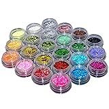 Ardisle 24 colori Glitter polvere di stelle per Nail Art su unghie, punte decorazione/artigianato/fai da te