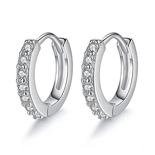 Epoch World Ohrringe Damen, Creolen 925 Silber 5A Zirkonia Klassische-Elegante Ohrringe Silber creolen