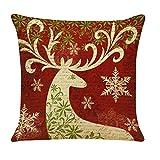 auwer feliz Navidad elegante animales impresión lino y algodón funda de almohada cojín funda de almohada sofá cintura Throw cama silla Festival Decoración del hogar 18'