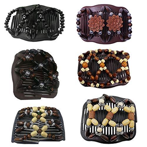 6 Stück Afrikanische Haarspange Haarkamm Magic Hair Comb,Magischer Kamm Butterfly Stretch Haarklammer Elastisch Dehnbar Perlen Beads,DIY Doppel Clips Haarklammer Haarspangen Haarkämme für Damen Frauen
