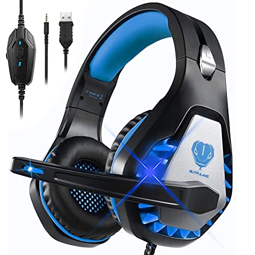 Cascos Gaming para PS4 PS5 Xbox One Nintendo Switch Laptop PC, DIWUER Auriculares Gaming con Microfono con Sonido Envolvente y Cancelación de Ruido, 3.5mm Jack y Luz LED (Negro Azul)