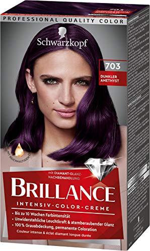 Brillance Intensiv-Color-Creme Haarfarbe 703 Dunkler Amethyst Stufe 3, 3er Pack(3 x 160 ml)