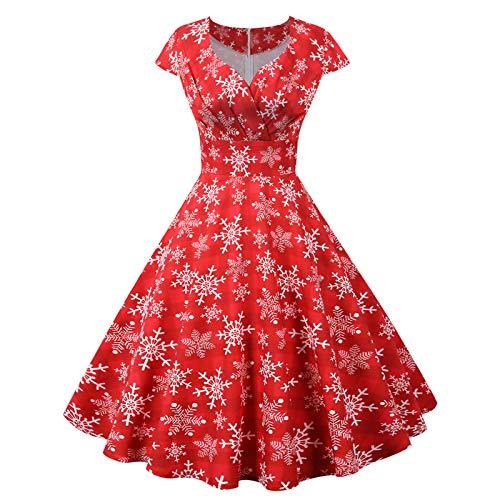 Wenese Damen 2020 Weihnachten Kleider Langarm Weihnachtskleid Cocktailkleid Druck...