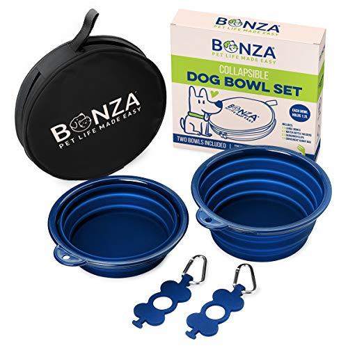 Bonza Ciotole per cani pieghevoli, pacco doppio, 5 tazze, diametro 18 cm, ciotole per cani portatili per animali di grandie piccole dimensioni, resistenti, a tenuta stagna, Sicure per cibo
