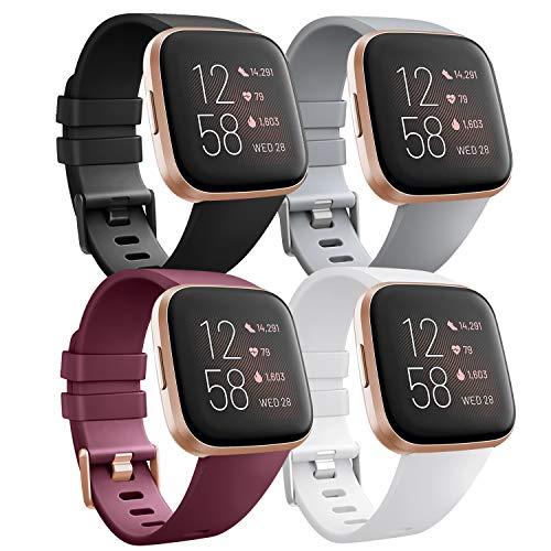 Wanme Kompatibel für Fitbit Versa Armband Fitbit Versa 2 Armband, TPU Silikon Sport Verstellbares Ersatzarmband für Fitbit Versa 2 und Fitbit Versa (01 Black+Wine Red+White+Gray, Small)