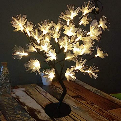 ETDWA Christmas LED Table Cherry Blossom Bonsai Tree Lights,Colour Fibre Optic Light Pre-Lit Bedside Lamp,Flower Decorative Warm Tabletop Outdoor (White/Warm Color),E