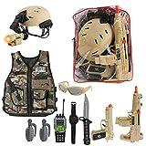 deAO Costume di Soldato in Combattimento Gioco d'Imitazione per Bambini Set Uniforme Militare Include Veste Mimetico, Casco, Accessori, Armi Giocattolo e Zaino Portaoggetti