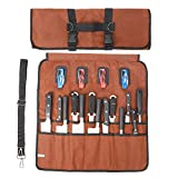 18 Slots Chef Knife Roll Bag with Handle and Shoulder Strap, Large Durable