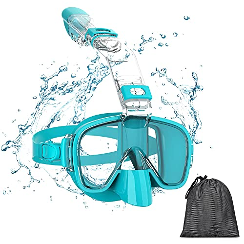Snorkel Mask, Panoramic Wide View, Foldable Anti-Fog Scuba Diving Mask with Dry Top System and Camera Mount for Free Diving and Swimming, Professional Snorkeling Gear for Kids Men Women Adults