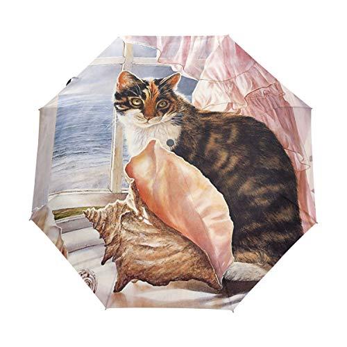 Regenschirm anpassen 3 Falten Katze auf der Fensterbank Malerei Winddicht Auto Öffnen Schließen Leichte Anti-UV