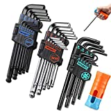 REXBETI Hex Key Allen Wrench Set, SAE Metric Long Arm Ball End Hex Key Set Tools, Industrial Grade, Bonus Free Strength Helping T-Handle, S2 Steel (35 Pieces hex key wrench set + T-Handle)