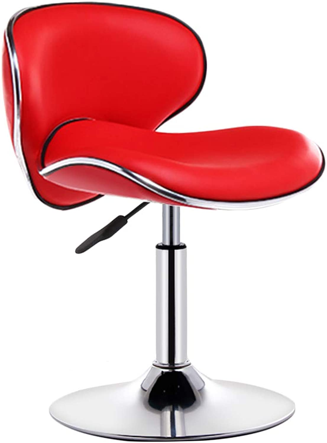 LIQICAI Bar Stool Faux Leather Upholster Adjustable Swivel Gas Lift Extra Backrest Footrest Large Base, 7 colors Optional (color   RED, Size   41cm Base X 55cm heigh)