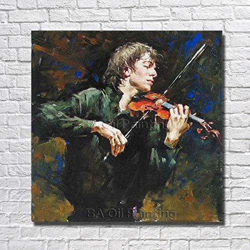 Hoge kwaliteitcanvas kunst man spelen viool olie s moderne decoratie kunst aan de muur woonkamer decor d75cmx75cm