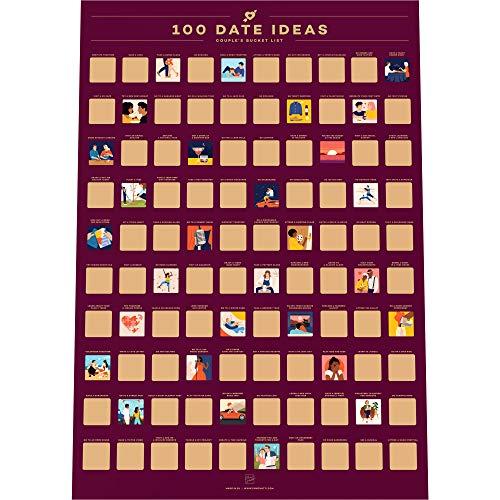100 Dates Scratch Off Poster - Couple's Bucket List - Valentinstag Ideen (42 x 59.4 cm)