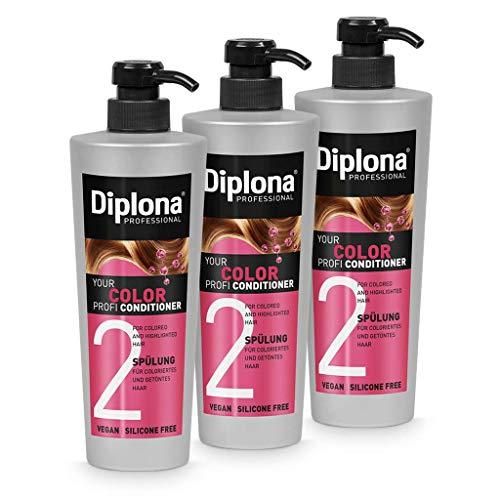 DIPLONA Acondicionador para cabello teñido y teñido, acondicionador profesional para mujeres, vegano, sin siliconas ni parabenos, 3 unidades de 600 ml