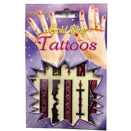 Filles Tatouages Temporaires de Mode - Anneaux Henné d'or