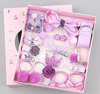 SMART_FUTURE [5 Different Designs] Girls Hair Clips Accessories Headdress Gift Box Cute Luxury Bows Elastic Hair Ties Pony...