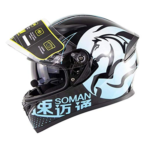 NJ Casco-motorhelm met bluetooth-motorhelm DOT & ECE helm voor volwassenen, integraalhelm Downhill Scooter dubbel vizier helm heren dames C-L