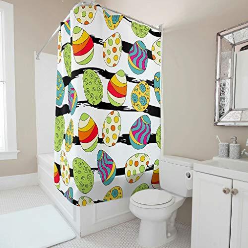 Wecrayon Ostern Kaninchen Ei Duschvorhang Anti-Schimmel Wasserdicht Waschbar Stoff Vorhang Polyester Textil Badezimmer Vorhang mit Haken für Badewanne White 200x200cm