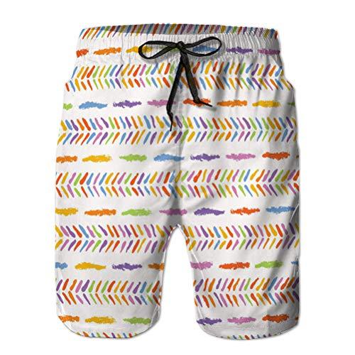jiilwkie Mens Summer Swim Trunks Shorts de Playa de Secado rápido Shorts de Playa Pintados a Mano pequeño Rainbow h M