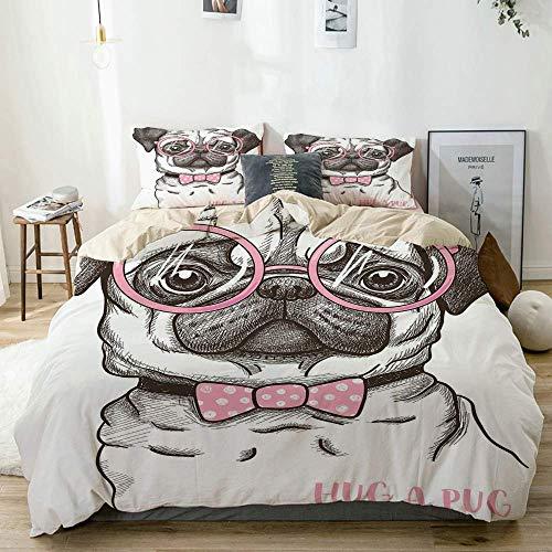 Juego de funda nórdica Beige, Pug Pet Dog Pink Bow Tie Gafas de gran tamaño Dibujado a mano Domesticado Decorativo Marrón Rosa pálido Blanco, decorativo Juego de cama de 3 piezas con 2 fundas de almoh