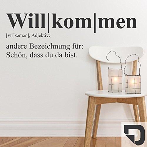 DESIGNSCAPE® Wandtattoo Willkommen Definition: Schön, dass du da bist 63 x 20 cm (Breite x Höhe) dunkelgrau DW803241-S-F7