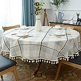 Landhaus Tischdecke Abwaschbar Rund 160cm Baumwolle und Leinen Gartentisch Tischtuch Outdoor Gitter Muster Waschbar Tafeldecke Tischdekoration
