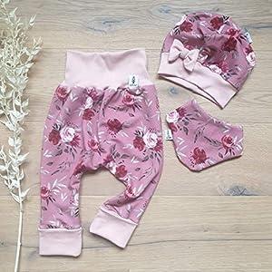 ANGEBOT Set – Hose, Schleifenmütze, Halstuch – Rosenwiese Rot (Rose) Baby Mädchen