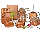 Gotham Steel Hammered Copper Collection – 20 Piece Premium Cookware & Bakeware Set with Nonstick...