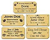 2' H x 4' W, Solid Brass Satin Name Plates, Personalized Custom Laser Engraved Nameplate Label Art Tag for Frames Notched Square or Round Corners, Made to Order, Made in USA