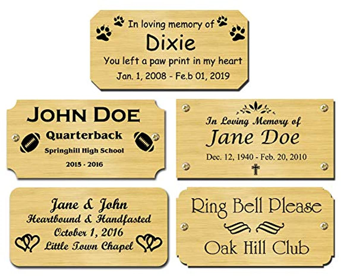 Solid Brass Satin Finish Personalized Custom Laser Engraved Nameplate Label Art Tag Sign Notched Square or Round Corners Choose Your Size and Text ndqfyib825833