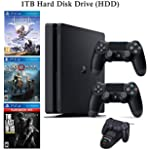 NexiGo 2020 Playstation 4 PS4 1TB Console with Two Dualshock 4 Wireless Controller Holiday Bundle, Included 3X Games (The Last of Us, God of War, Horizon Zero Dawn) + Charging Dock Bundle