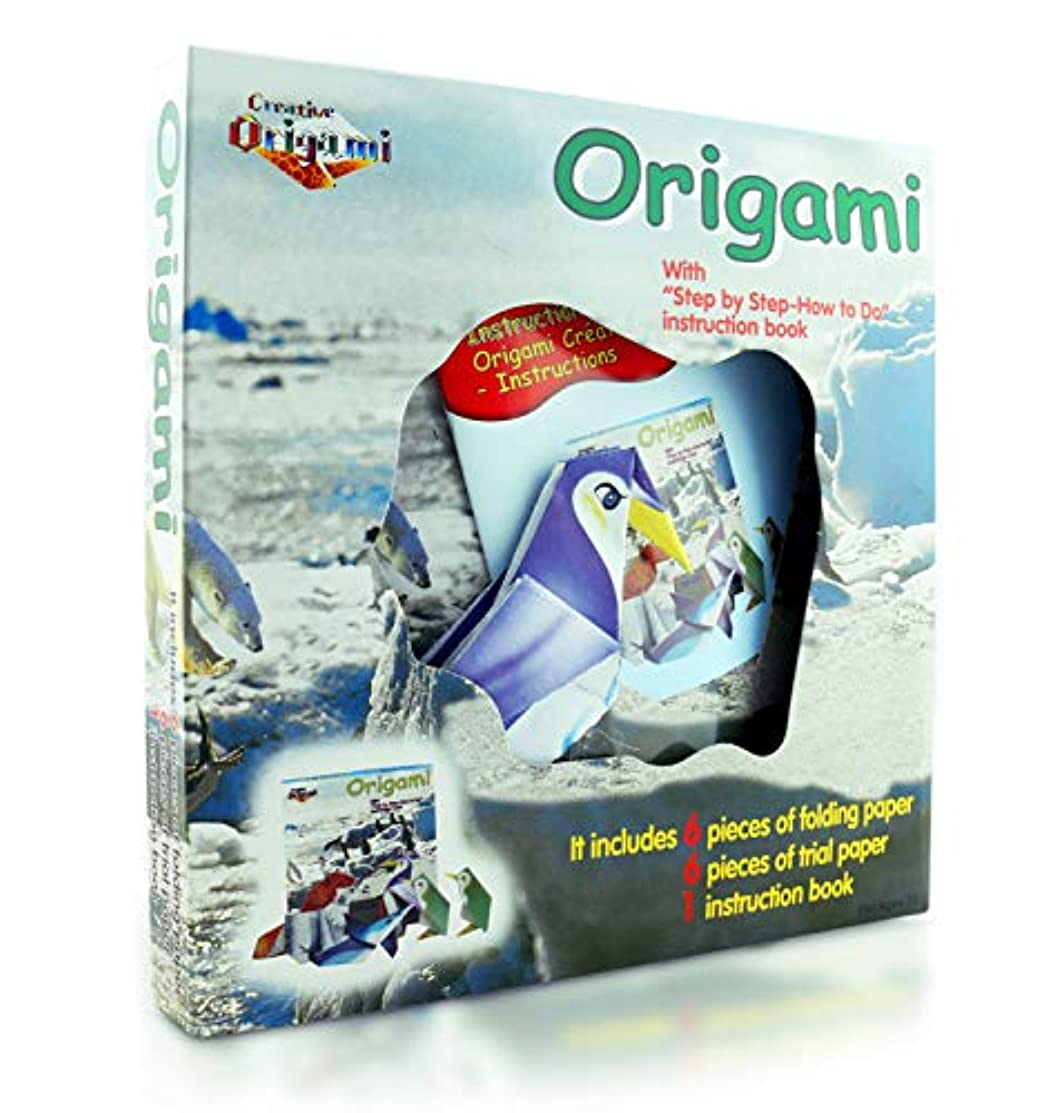 Origami Kit for Kids North Pole Edition– 12 Pieces of Origami Paper – 5 Origami Animals to Create – Origami Instruction Book for Children and Beginners - Starter Kit
