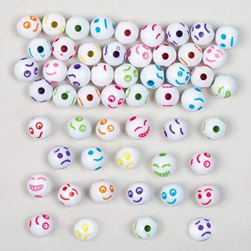 Baker Ross Cuentas de Colores con Caras Divertidas (Paquete de 300) Para crear pulseras y collares con niños