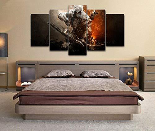 SESHA Póster De Lienzo 5 Piezas HD Arte De La Pared Impresa Decoración Dormitorio El Hogar Pintura De La Lona Foto El Juego De Assassin Warrior(Enmarcado)