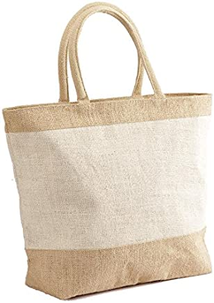 f0c8ff2be Natural White Jute/Burlap Tote Bag with Zippered Closure Cotton Webbed  Handles - CarryGreen Bags