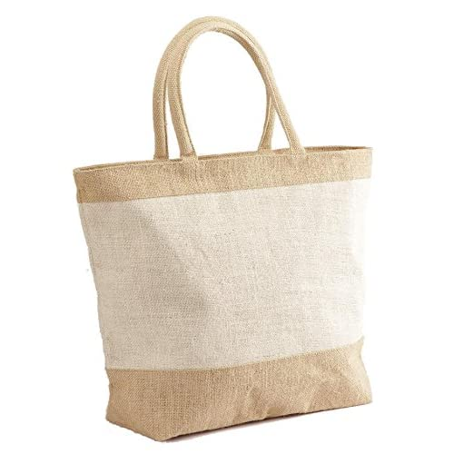 2622a2ea6 Amazon.com: Natural White Jute/Burlap Tote Bag with Zippered Closure Cotton  Webbed Handles - CarryGreen Bags: Kitchen & Dining